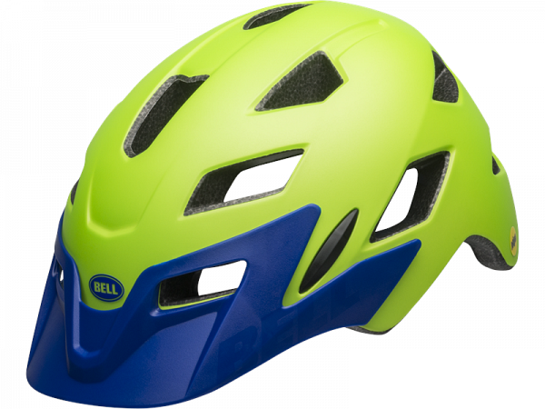 Bell Sidetrack Junior MIPS Cykelhjelm, Mat Bright Green/Blue