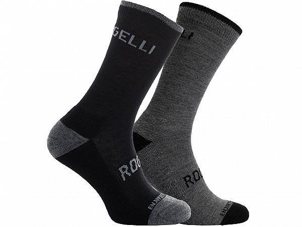 Rogelli Merino Wool 2-Pack Vinterstrømper, Grey/Black