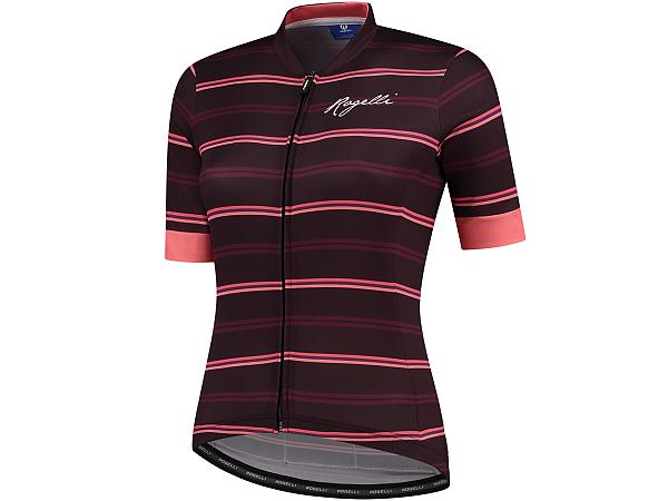 Rogelli Stripe Lady Cykeltrøje, Bordeaux/Pink