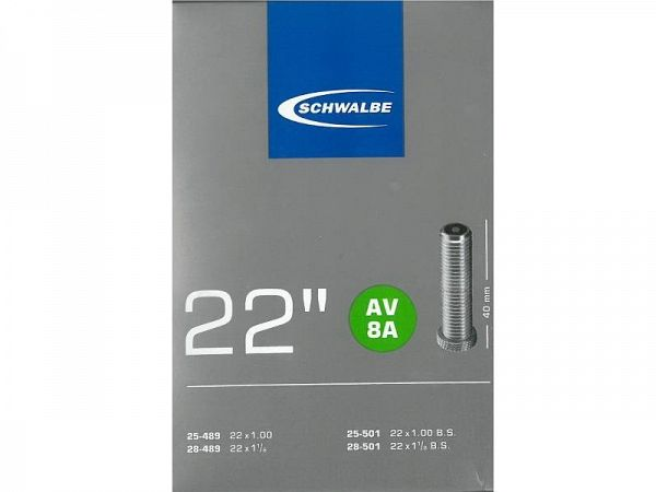 Schwalbe Cykelslange 22x1.00 - 1.25, Autoventil (AV8A)