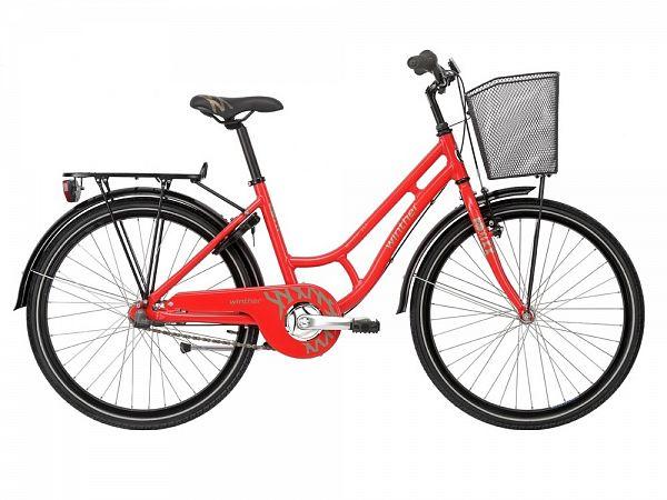 "Winther 250 Alu Granny 24"" rød - Pigecykel - 2016"