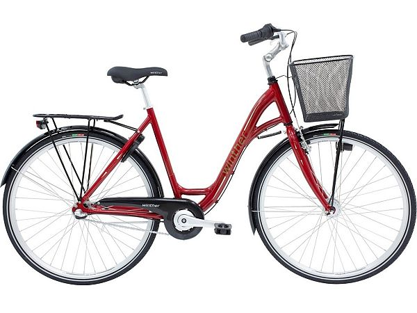 Winther Shopping Alu 3 Red - Damecykel - 2021