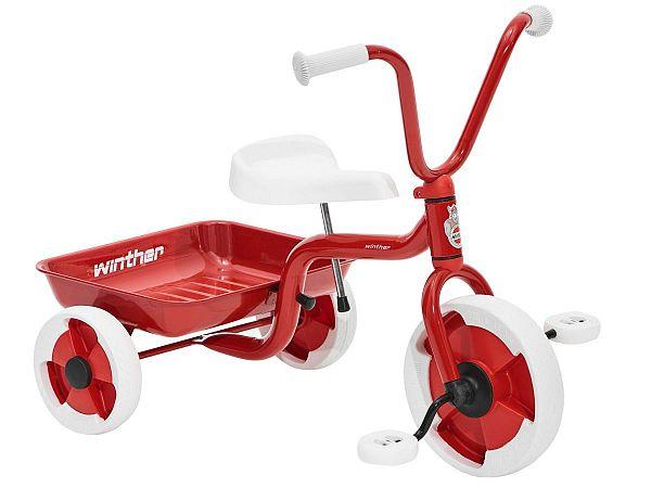 Winther Trehjulet Cykel m. Tiplad - Rød